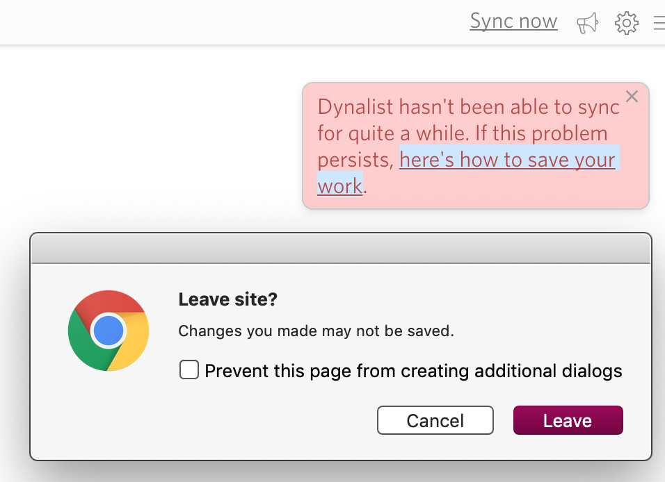Sync issues link on how to save your work tries to leave the